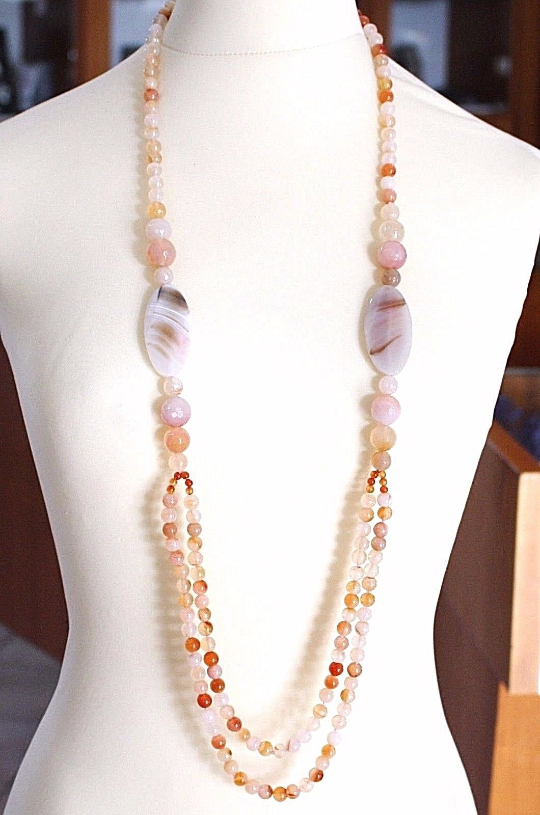 Long necklace 100 CM, 1 Meter Red Agate and Brown, Oval Spheres, double wire