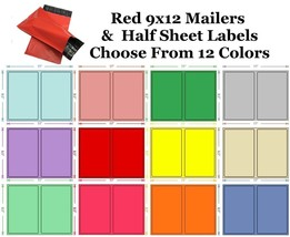 9x12 ( Red ) Poly Mailers + Colored Half Sheet Self Adhesive Shipping La... - $1.99+