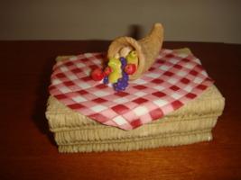 Enesco Mary Rhyner 1998 Haystack 2 Piece Box With Tablecloth & Cornucopia - $13.99