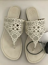 TORY BURCH Off White/Cream Cut Out Leather Slip On Flats/Sandals Sz 6.5 - $127.84