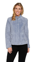 Isaac Mizrahi Live! Suede Flight Jacket, Slate Grey, Size 16, MSRP $164 - $98.99