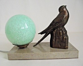 Vintage French Art Deco Swift Bird Lamp Beige Marble Base Green Glass Sh... - $77.12