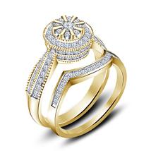 14k Gold Finish 925 Sterling Solid Silver Womens Wedding Diamond Bridal Ring Set - $87.18