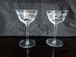 "RARE 2 OPTIC PANEL ETCHED FLORAL GLASSES 6"" CHAMPAGNE SHERBET ELEGANT TI... - $29.69"