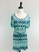 N21 H&M Size XS Blue Ikat Print Short Sleeve Swimsuit Coverup Dress - $11.76