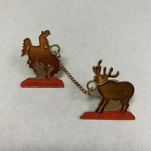 Elks Lodge BPOE Wyoming Double Pin on Chain Bronco  - $18.77