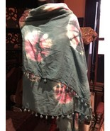 Vintage Hand made Japanese Turquoise Tie Dye Cotton Scarf Shawl Wrap - $64.35
