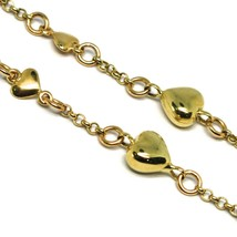 Bracelet Yellow Gold 18K 750, Hearts Domed and Plates, Alternating, Length 19 CM image 2