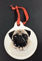 """PUG DOG CHRISTMAS Sculpted Ceramic Ornament 3.5"""" Pet Christmas - $9.45"""