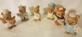 "6 Pc. Set Vintage Homco Miniature Career Bears (8820) 2"" Tall Free Shipping - $9.49"