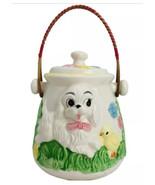 Vintage Biscuit Cracker Cookie Jar Dog Cat Chick Flowers 3D Superior Japan - $47.03