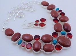 Sunstone-Garnet Stone Silver Overlay Handmade Jewelry Necklace Oj-118/75 - $21.36