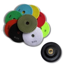 "KENT 10 pcs 5"" Premium 3mm WET Polishing Pads With Holder, White and Black Buffs - $120.78"