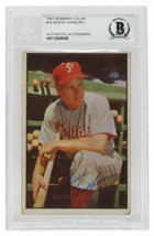 Richie Ashburn Signed 1953 Bowman Color #10 Phillies Baseball Card BGS - $484.99