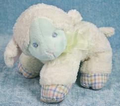 "First & Main Bambino Lambino Lamb 6"" Plush Rattle Sheep White Blue Baby ... - $9.95"