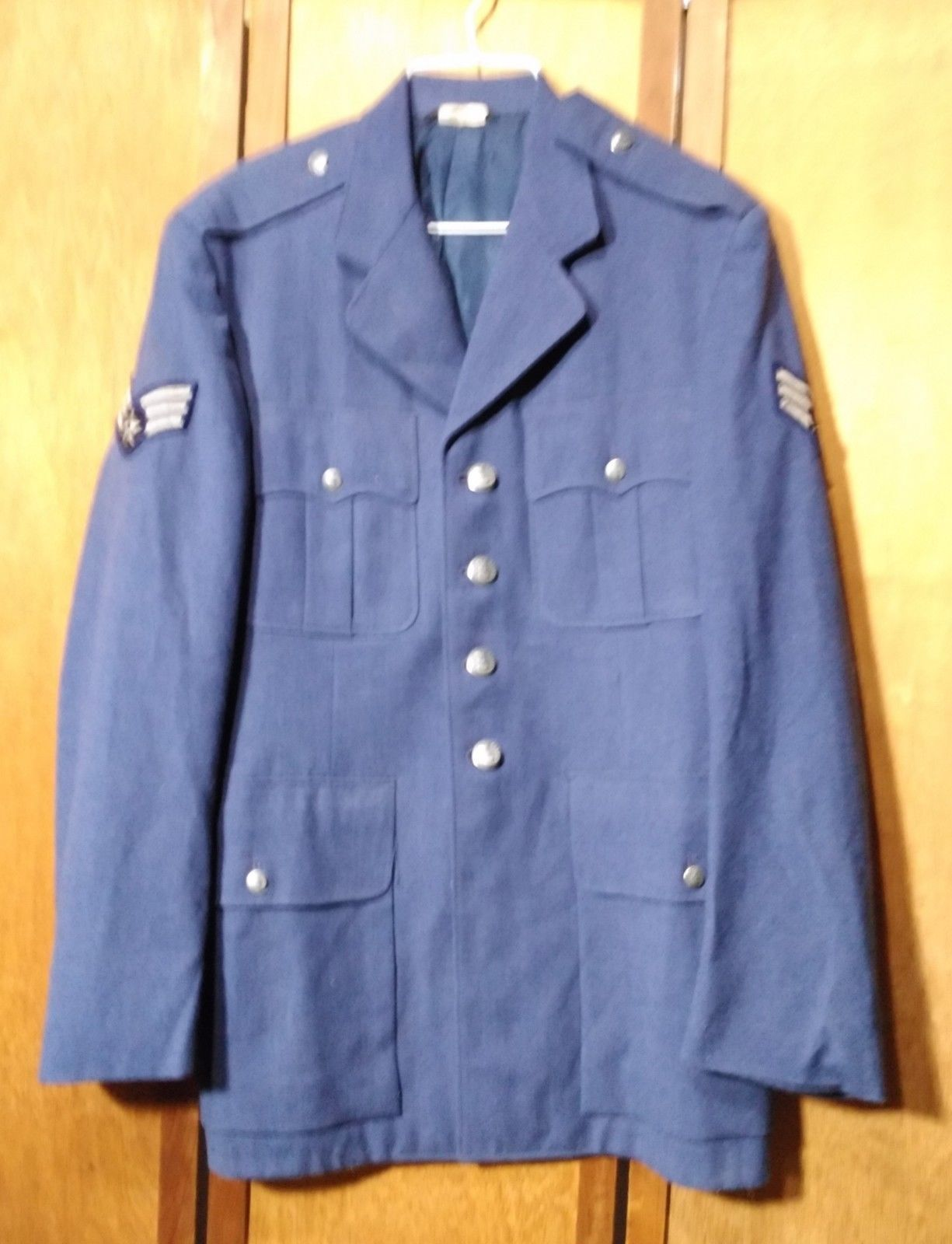 Vintage US Air Force SSgt Military Service Dress Blue Poly Coat Jacket 39L