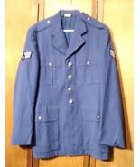 Vintage US Air Force SSgt Military Service Dress Blue Poly Coat Jacket 39L - $19.79