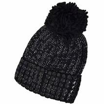 Flat-Stud Metallic Rib-Knit Chunky Hat DKNY Women's Black Silver - $47.80