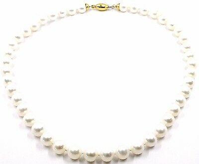 Halskette, Verschluß Kugel Oval Glatte Gelbgold 18K, Perlen Weiß 9-9.5 MM