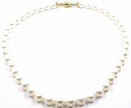 Halskette, Verschluß Kugel Oval Glatte Gelbgold 18K, Perlen Weiß 9-9.5 MM image 1