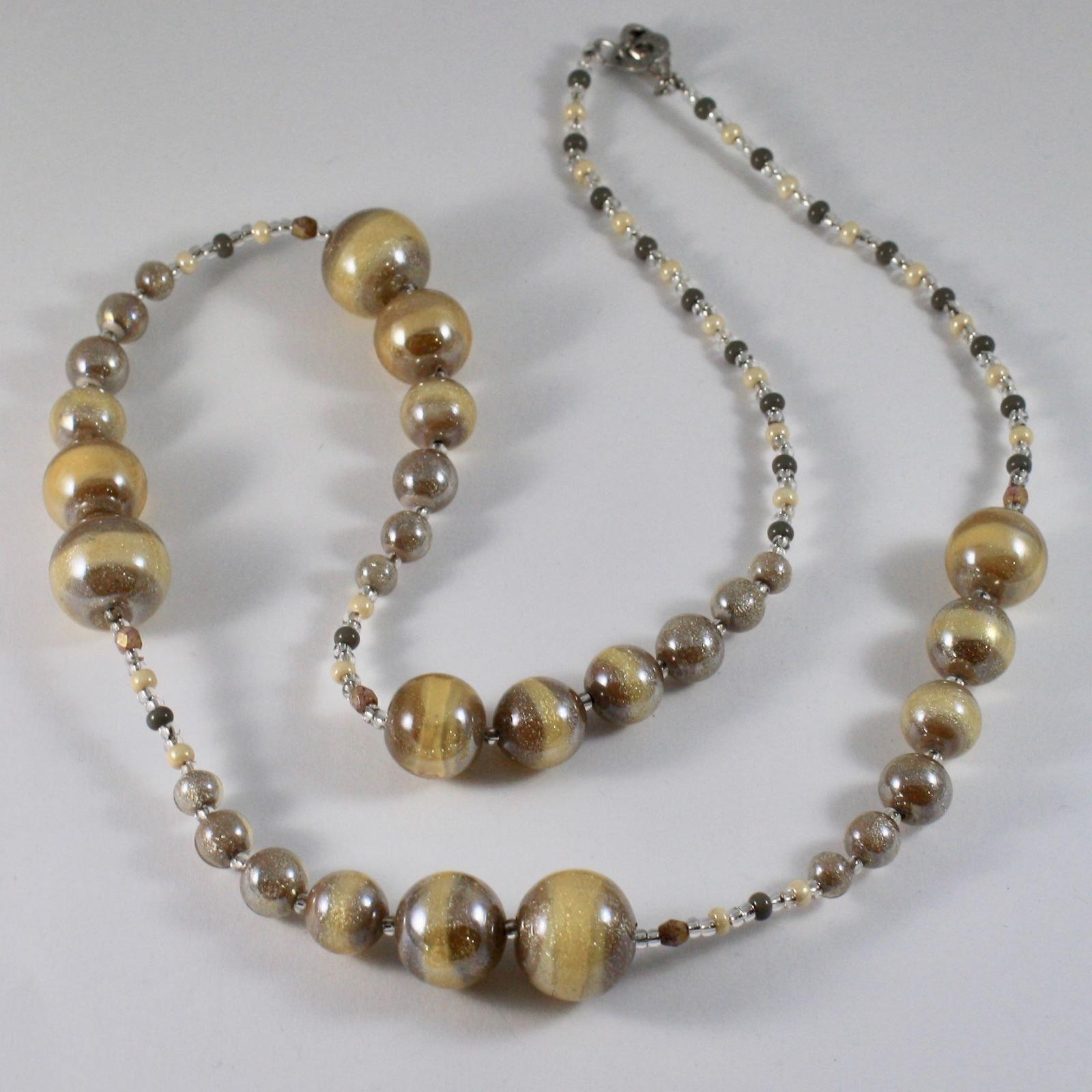 ANTICA MURRINA VENEZIA LONG NECKLACE WITH BROWN YELLOW MURANO GLASS BALLS. 30 IN