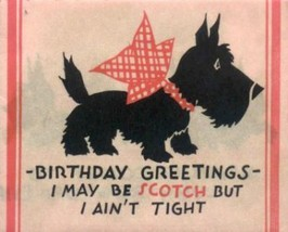 Scottie Dog Red Bow Vintage Birthday Image - $4.50