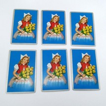 Set of 6 Dutch Girl Holding Flowers Playing Cards for crafting collage repurpose image 1