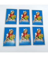 Set of 6 Dutch Girl Holding Flowers Playing Cards for crafting collage r... - $2.25