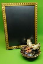 Gilded Porcelain Lovebirds Ring Bowl Iridescent Glaze Wooden Photo Frame - $69.00