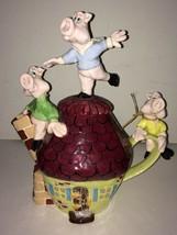 Laguna Beach Artist Michael Ezzell Three Little Pigs Tea Pot - $300.00