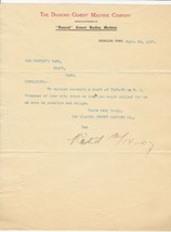 U.S. The Diamond Cement Machine Company Deshler 1907 Retd Invoice Letter... - $7.55