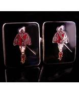 Medieval Musketeer Cufflinks / Enamel french soldier  / renaissance wedd... - $110.00