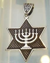 PENDANT JEWISH JUDAICA  STAR OF DAVID HANUKKAH 925 sterling silver (P622)  - $33.66