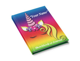 Personalized Rainbow Unicorn Journal Hardcover 128 Lined Pages 5x8 inch - $24.99