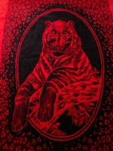 """San Marcos Tiger Red Reverse Image Throw Blanket No Tags 86"""" x 60"""" - $118.79"""