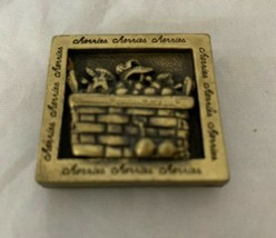 Longaberger Pewter Brass Plate Cherries Basket Refrigerator Magnet - $8.59
