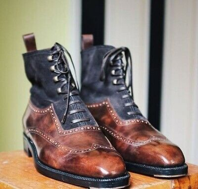 Vintage Brown Cap Toe Genuine Leather Lace Up Men High Ankle Three Tone Boots
