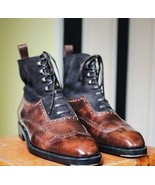 Vintage Brown Cap Toe Genuine Leather Lace Up Men High Ankle Three Tone ... - $149.99+