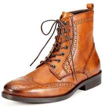 Handmade Leather dress brogue boots for men custom made leather men's boots - $179.87 - $189.90