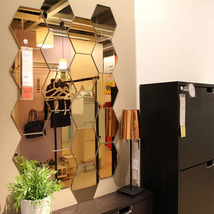 Three-dimensional hexagonal 7 Piece Wall Decoration Acrylic Mirrored Dec... - €10,50 EUR