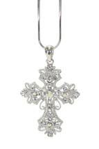Girls Ladies Ornate Vintage Cross Aurora Borealis Clear Crystal Pendant Necklace - $18.00