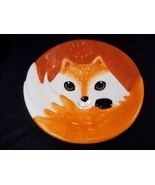 "Fox face 3D Salad plate stoneware Autumn Fall 8"" NEW - $6.85"
