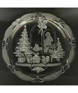 Mikasa Huge Serving Platter Plate Clear Frosted Glass Winter Christmas S... - $26.79