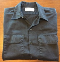 Men's Genuine Dickies Black Button Down Industrial Wear Work Shirt Large... - $26.11