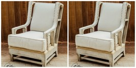 PAIR HOME DECOR RUSTIC FARMHOUSE HIGH BACK WING ACCENT CHAIR  - $2,195.60