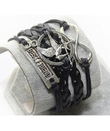 Hunger Games Mockingbird Best Friend Infinity Black Leather Bracelet - $9.99