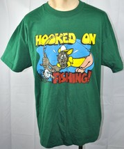 Dads Fishing Shirt Hooked On Vtg T-Shirt XL Fathers Day Wildside USA Mad... - $24.04