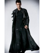 Men Winter Genuine Real Leather Gothic Long Coat - $250.00