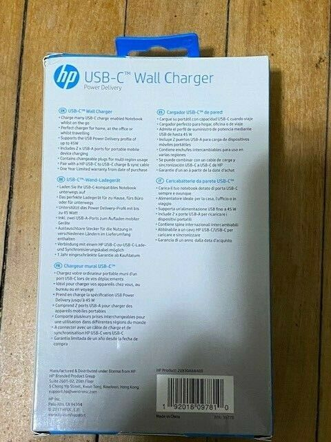 HP 45W USB-C Power Delivery Wall Charger 2UX30AAABB New