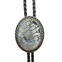 Stripes Granite Stone Mens BOLO Tie Wedding Necklace Vintage Western CB - $13.09